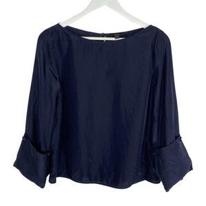 COS Navy Silk Boat Neck Blouse with Cuffed Sleeves